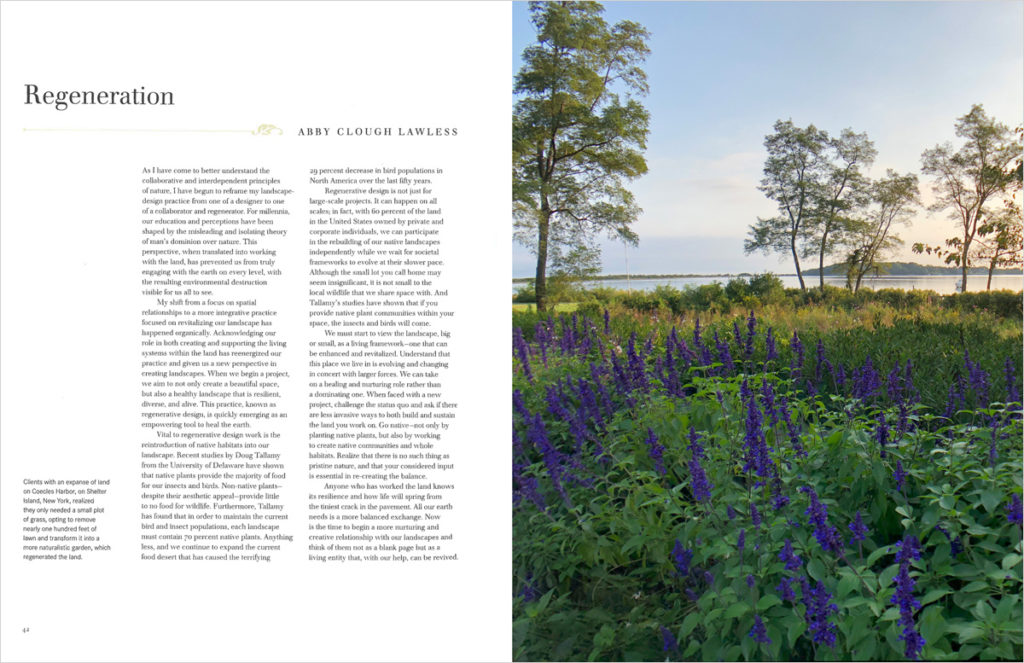 Open book. Text on the left page and one image of purple wild flowers on the right page.