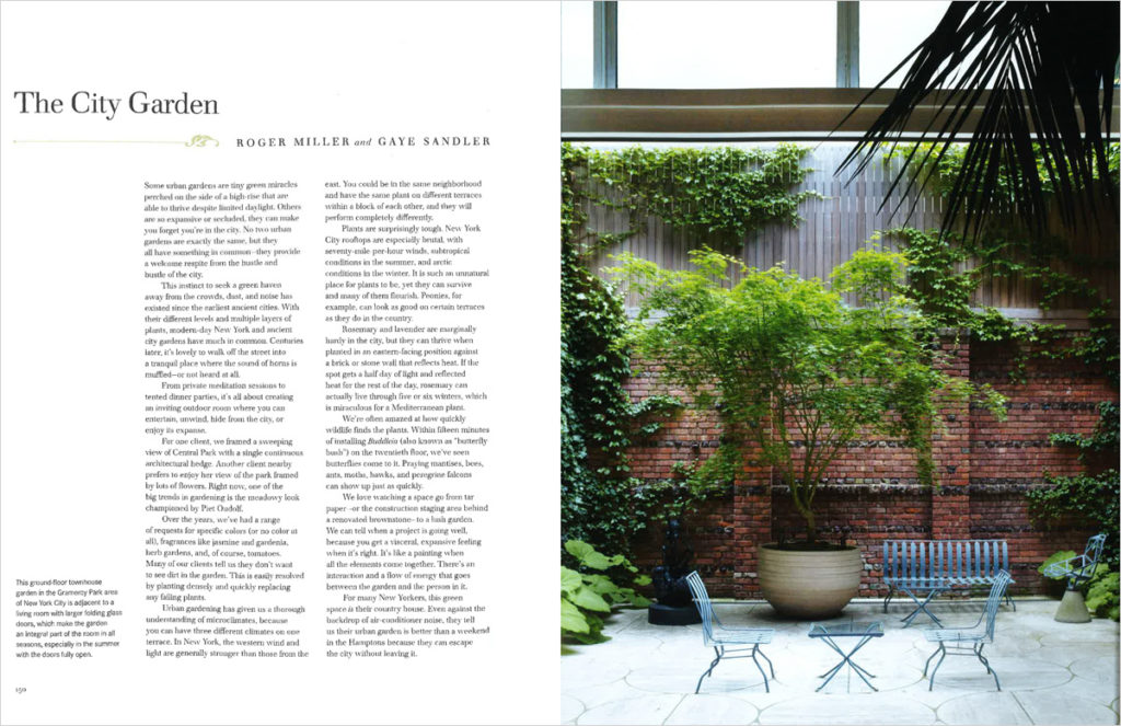 Open book. Text on the left page and one image of landscaped patio with red brick wall on the right page.